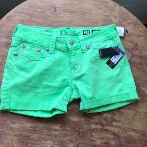 Miss Me Lime Green Skinny Shorts